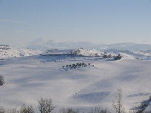 Vergezicht vanuit Loretello in de winter
